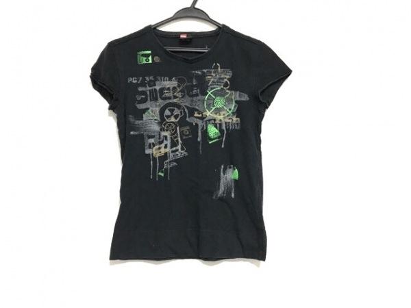 DIESEL(ディーゼル) 半袖Tシャツ サイズS レディース 黒×ライトグリーン×マルチ
