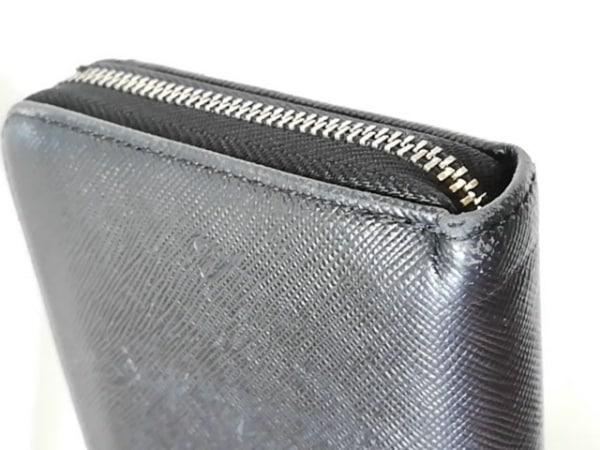 ポールスミス 長財布 黒×ブルー ラウンドファスナー/型押し加工/ハート レザー