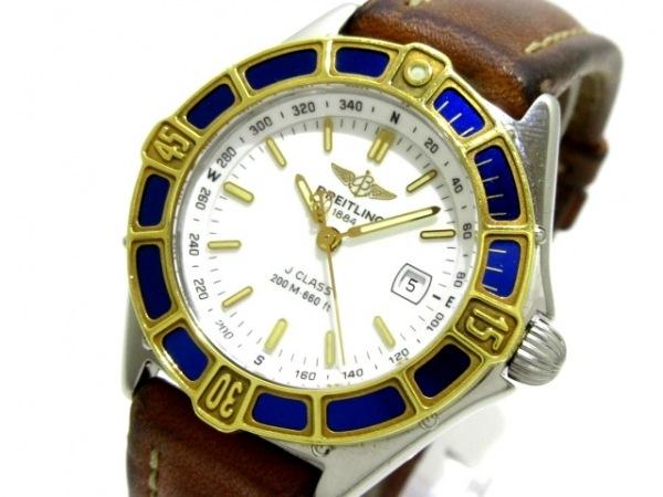 BREITLING(ブライトリング) 腕時計 Jクラス D52065 レディース SS×K18YG/革ベルト 白