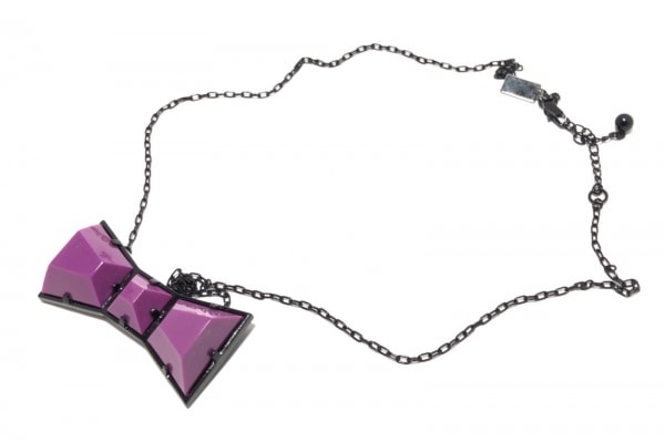 SONIARYKIEL(ソニアリキエル) ネックレス 金属素材 黒×パープル リボン