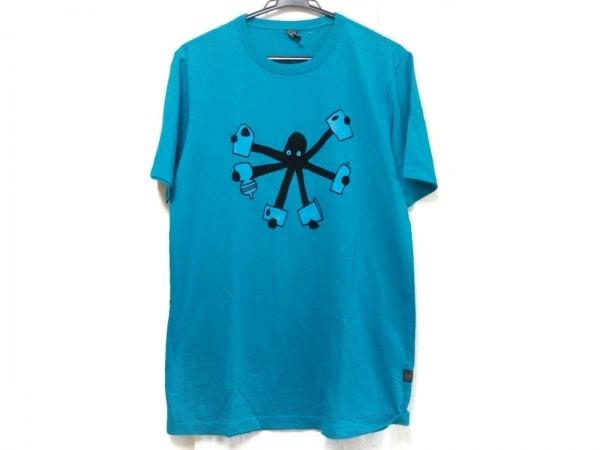 G-STAR RAW(ジースターロゥ) 半袖Tシャツ メンズ美品  ライトブルー×黒