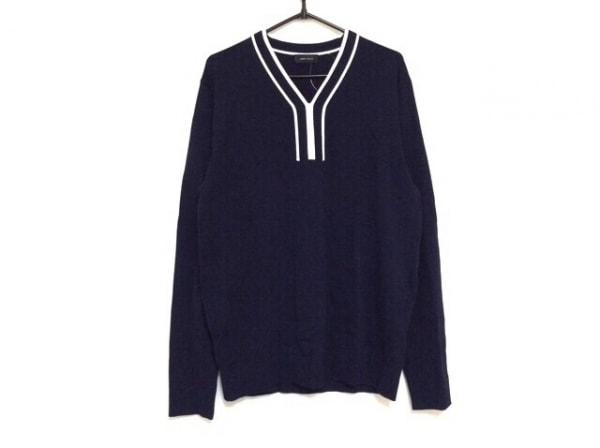 ジョセフオム 長袖セーター サイズ48 XL メンズ美品  ダークネイビー×白