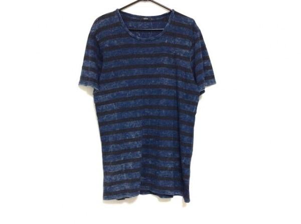 DENHAM(デンハム) 半袖Tシャツ サイズM メンズ ネイビー×黒 ボーダー/一部合皮