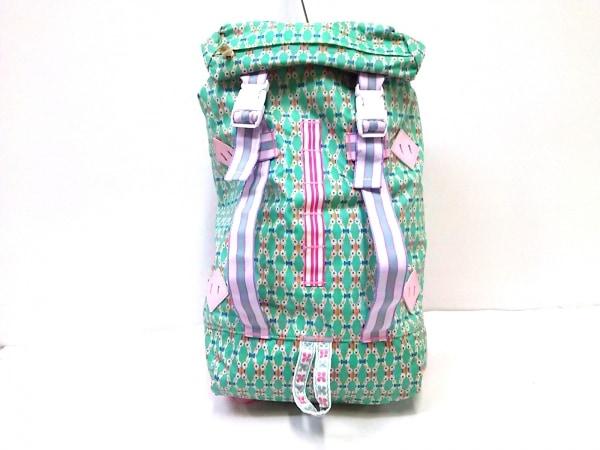 フェフェ リュックサック美品  ライトグリーン×ベージュ×マルチ PVC(塩化ビニール)