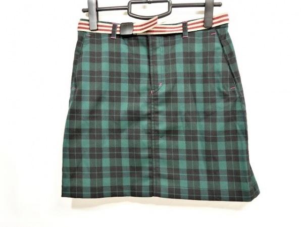 コロンビア ミニスカート サイズM レディース美品  ダークグリーン×黒 チェック柄