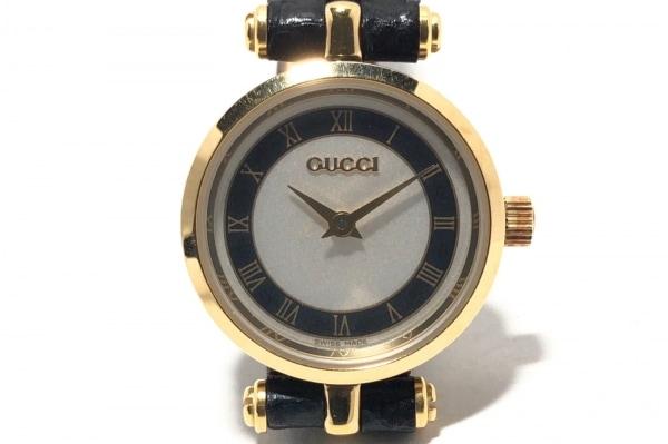 GUCCI(グッチ) 腕時計 ダブルG - レディース 型押し革ベルト 白