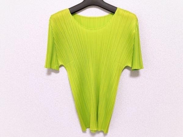 プリーツプリーズ 半袖カットソー サイズ3 L レディース美品  ライトグリーン