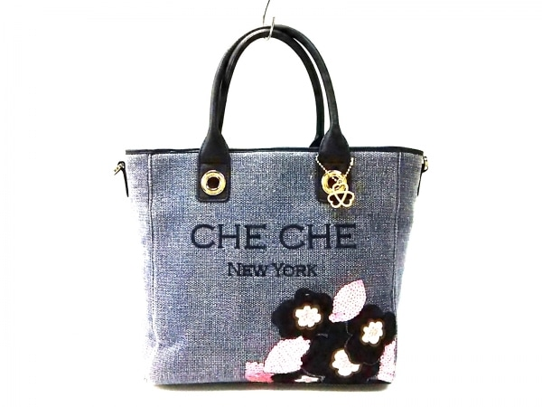 チチ ハンドバッグ ネイビー×黒 スパンコール/フラワー/刺繍 キャンバス×レザー