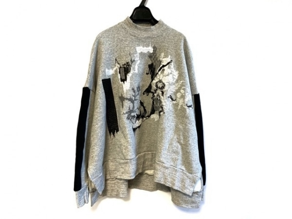 マメ クロゴウチ トレーナー サイズ1 S レディース美品  黒×ライトグレー×白 刺繍