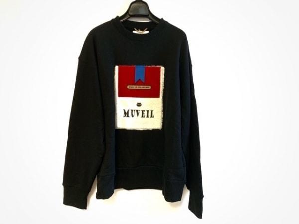 MUVEIL(ミュベール) トレーナー サイズ38 M レディース美品  黒×白×レッド