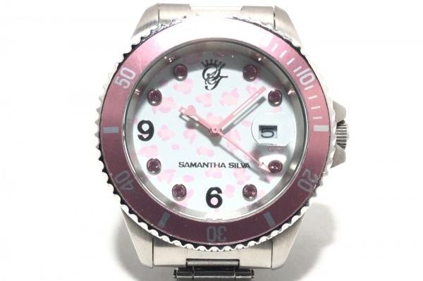 Samantha silva(サマンサシルヴァ) 腕時計 - レディース ラインストーン 白×ピンク