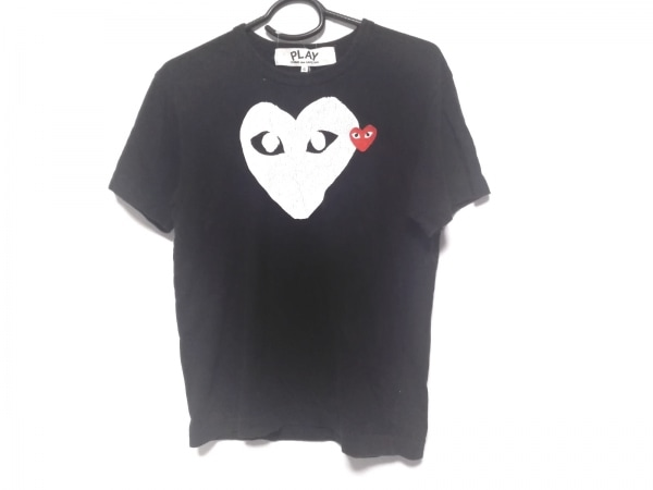プレイコムデギャルソン 半袖Tシャツ サイズS メンズ 黒×白×レッド ハート