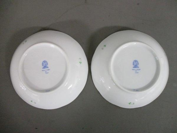 Herend(ヘレンド) プレート新品同様  白×グリーン×ゴールド 小皿×2 陶器