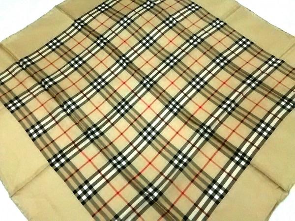 Burberry's(バーバリーズ) スカーフ美品  ベージュ×黒×レッド チェック柄
