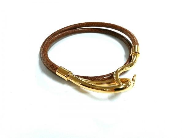 エルメス ブレスレット美品  ジャンボ レザー×金属素材 ブラウン×ゴールド 2連