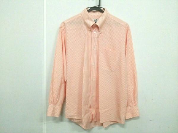 HERMES(エルメス) 長袖シャツ サイズ40 15 3/4 メンズ 白×オレンジ チェック柄