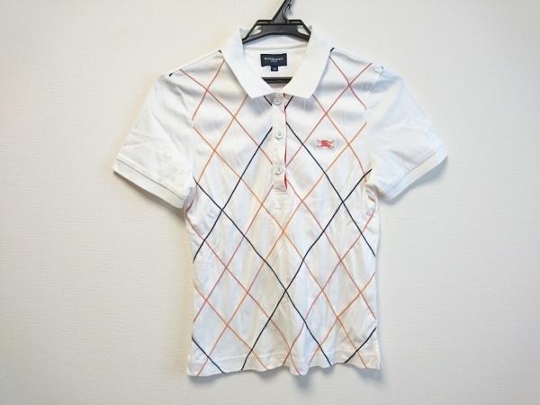 バーバリーゴルフ 半袖ポロシャツ サイズM レディース美品  白×オレンジ×黒