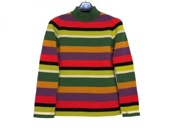 ホコモモラ 長袖セーター サイズ40 XL レディース ダークグリーン×レッド×マルチ