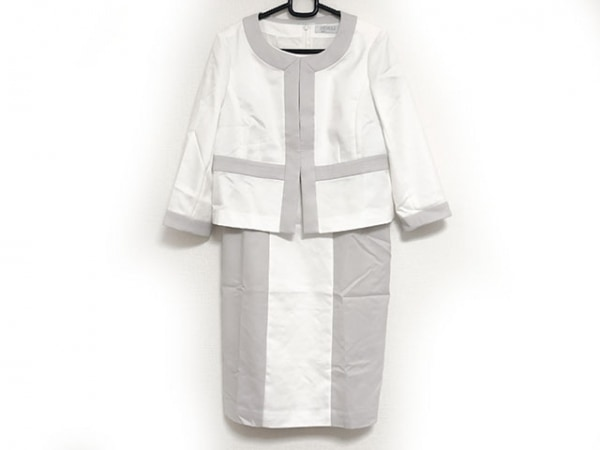 ネミカ ワンピーススーツ サイズ9 M レディース美品  白×ライトグレー