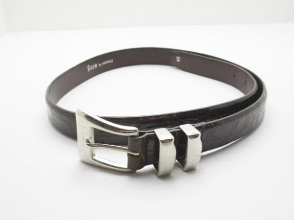 フィッチェ ベルト 85 黒×ダークブラウン×シルバー 型押し加工 レザー×金属素材
