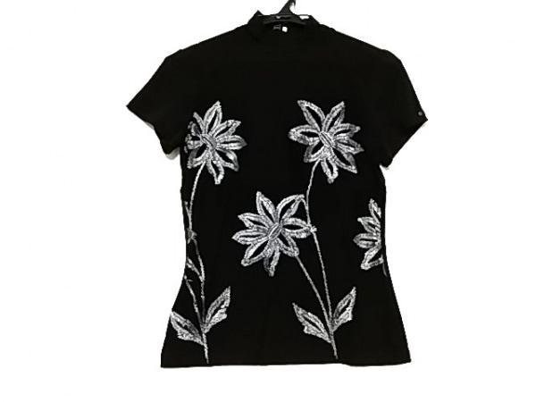 エタンセル 半袖カットソー レディース美品  黒×ライトグレー ハイネック/刺繍