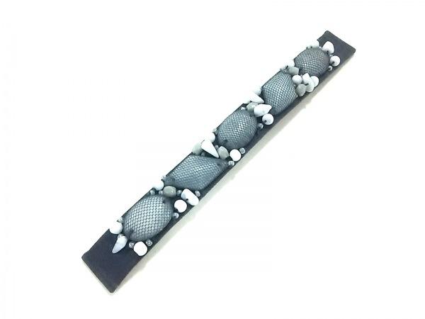 poiray(ポアレ) 小物美品  黒×白 替えベルト/138/ビーズ 化学繊維×プラスチック
