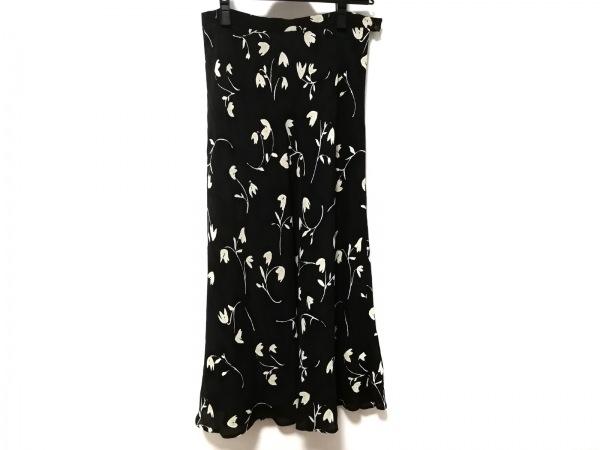 バーバリーズ スカート サイズ40 M レディース 黒×アイボリー 花柄/シースルー