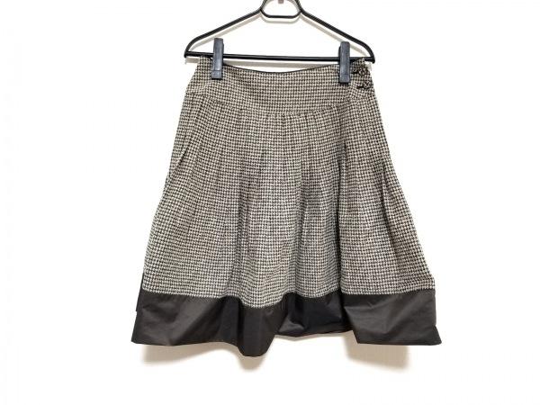 ヒロココシノ スカート サイズ38 M レディース美品  ベージュ×ダークブラウン