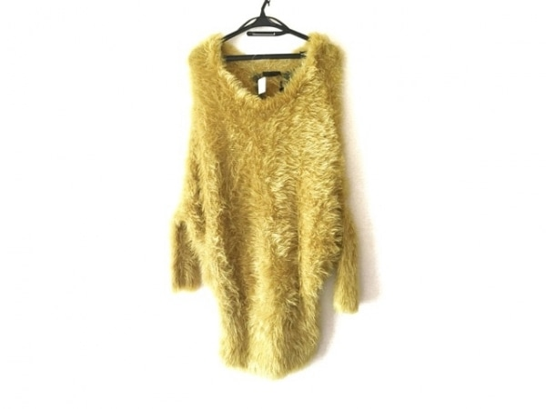 AULA(アウラ) 長袖セーター サイズ0 XS レディース新品同様  イエロー×ダークグレー