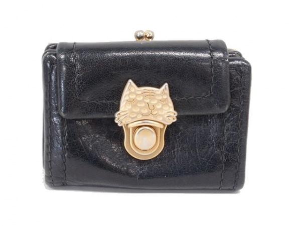 ツモリチサトキャリー 2つ折り財布 黒×ゴールド がま口/ネコ レザー
