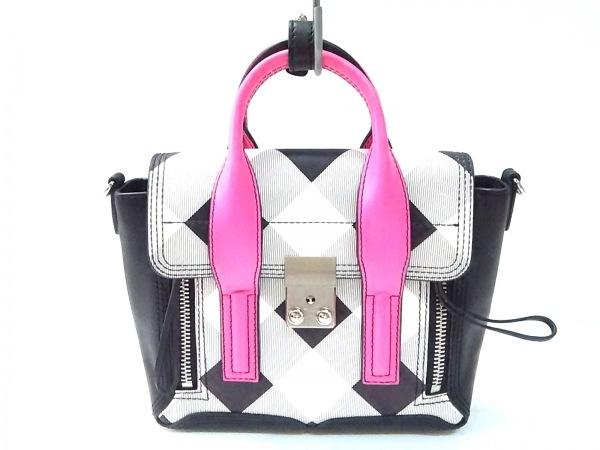3.1 Phillip lim(スリーワンフィリップリム) ハンドバッグ 黒×白×ピンク レザー
