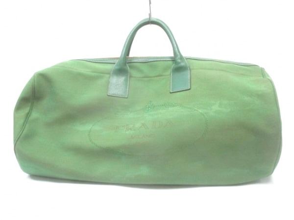 PRADA(プラダ) ボストンバッグ ロゴジャガード グリーン 革タグ ジャガード×レザー