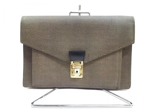 フェンディ セカンドバッグ - - ダークブラウン×黒 PVC(塩化ビニール)×レザー