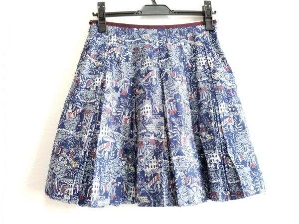 ロイスクレヨン スカート サイズM レディース美品  ネイビー×白×ボルドー プリーツ