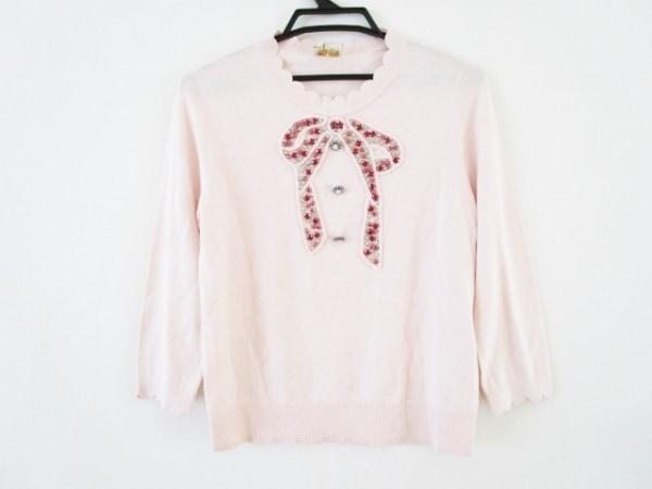 ケイトスペード 長袖セーター サイズS レディース ピンク×レッド×クリア ビジュー