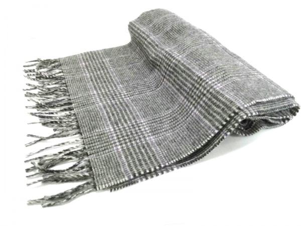 ジョシュアエリス マフラー美品  黒×白×パープル カシミヤ/チェック柄 カシミヤ
