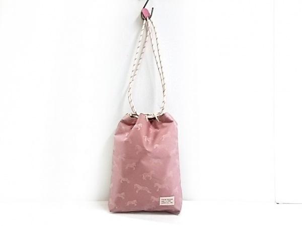 Calen Blosso(カレンブロッソ) バッグ ピンク×アイボリー 巾着型 ナイロンジャガード