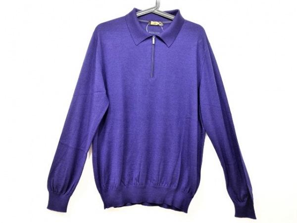 ZILLI(ジリー) 長袖セーター サイズ54 メンズ美品  ネイビー カシミヤ/シルク