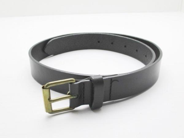 agnes b(アニエスベー) ベルト 30/75 黒×ゴールド レザー×金属素材