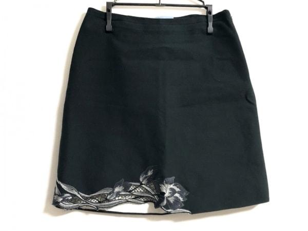 ブルマリン ミニスカート サイズ34 XS レディース 黒×白 刺繍/ラメ/フラワー