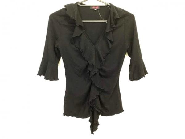 レジィーナロマンティコ 七分袖カットソー サイズ36 S レディース美品  黒 フリル