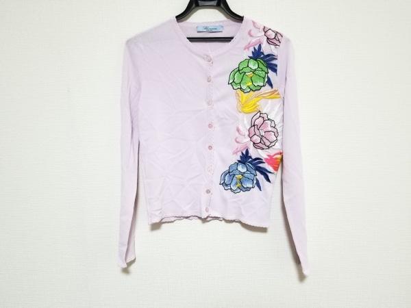 ブルマリン カーディガン サイズI38 レディース美品  ピンク×マルチ フラワー/刺繍