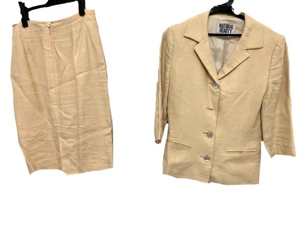 ナチュラルビューティー スカートスーツ サイズM レディース美品  イエロー 肩パッド