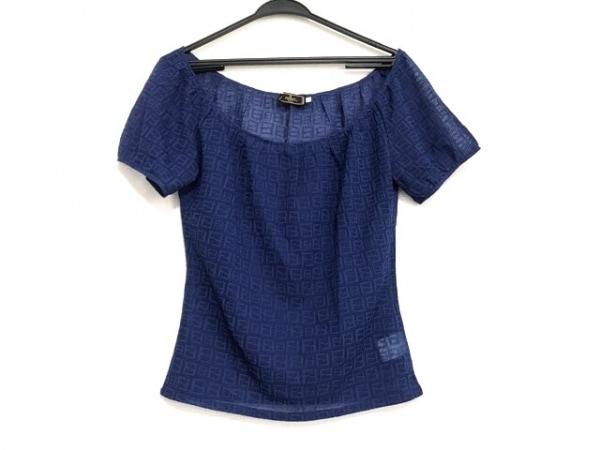 フェンディ 半袖カットソー サイズ42 M レディース美品  ズッカ柄 ブルー シースルー