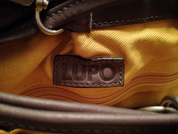 LUPO(ルポ) ショルダーバッグ ダークブラウン×グレー 型押し加工/タッセル レザー