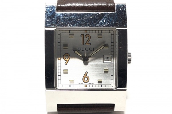 GUCCI(グッチ) 腕時計 7700M メンズ 革ベルト シルバー