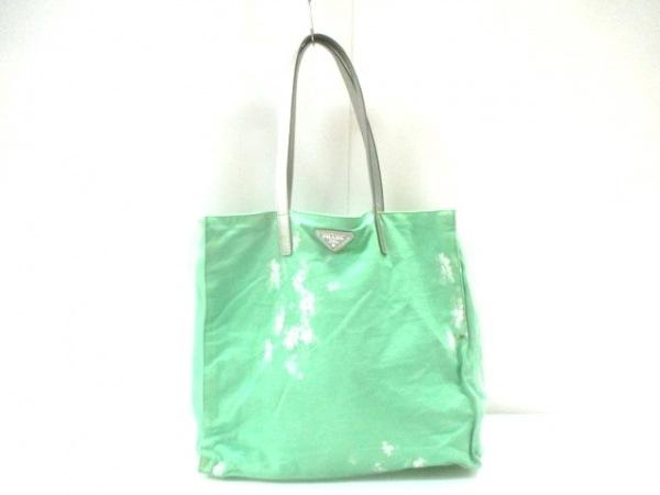 PRADA(プラダ) トートバッグ - グリーン×白×シルバー 花柄 キャンバス×レザー