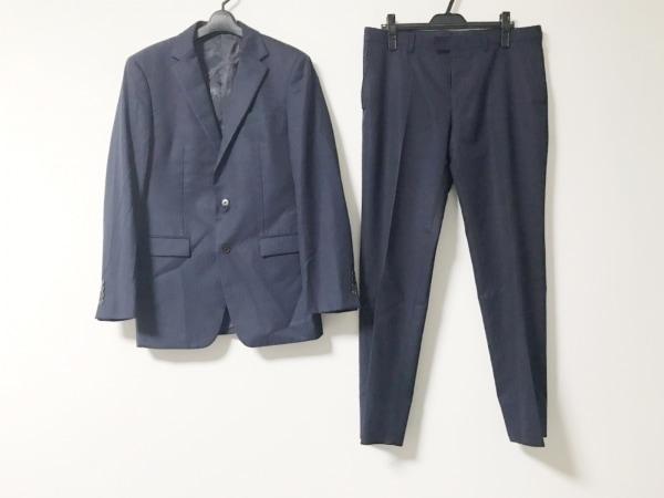 コムサメン シングルスーツ サイズ50 メンズ美品  ネイビー 肩パッド/ストライプ