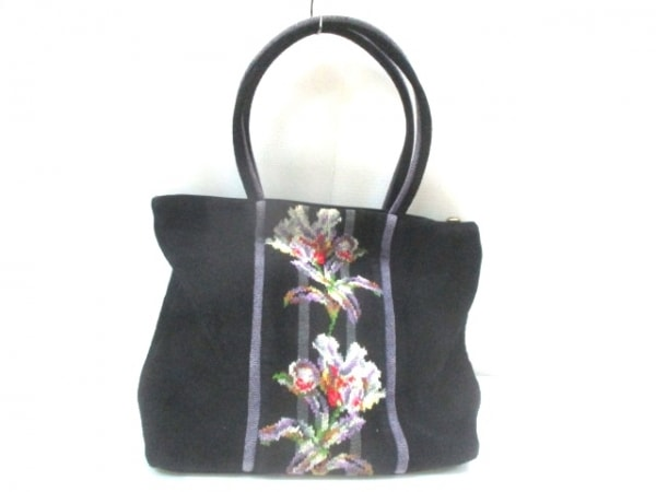 FEILER(フェイラー) ハンドバッグ 黒×パープル×マルチ 花柄 パイル