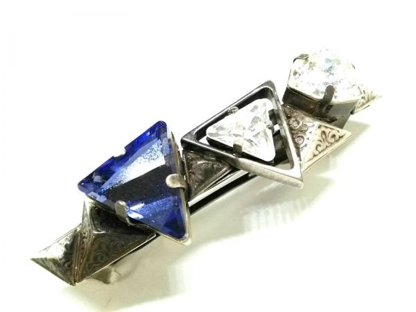 acca(アッカ) バレッタ美品  金属素材×カラーストーン シルバー×クリア×パープル